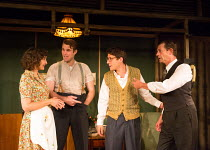 l-r: Nesba Crenshaw (Esther), George Turvey (Ben), Alex Forsyth (Arnold), David Bromley (Abe) in NO VILLAIN by Arthur Miller opening at Trafalgar Studios 2, London SW1 on 20/06/2016 an Old Red Lion pr...