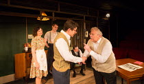 front, l-r: Nesba Crenshaw (Esther), George Turvey (Ben), Alex Forsyth (Arnold), Kenneth Jay (Grandpa Barnett) in NO VILLAIN by Arthur Miller opening at Trafalgar Studios 2, London SW1 on 20/06/2016 a...