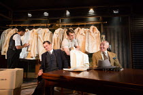 l-r: (rear) Michael Lyle (Frank), David Bromley (Abe), George Turvey (Ben), Stephen Omer (Mr Dawson) in NO VILLAIN by Arthur Miller opening at Trafalgar Studios 2, London SW1 on 20/06/2016 an Old Red...