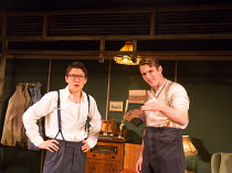 l-r: Alex Forsyth (Arnold), George Turvey (Ben) in NO VILLAIN by Arthur Miller opening at Trafalgar Studios 2, London SW1 on 20/06/2016 an Old Red Lion production design: Max Dorey lighting: Jack Weir...