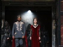 Ray Fearon (Macbeth), Tara Fitzgerald (Lady Macbeth) with the Wyrd Sisters in MACBETH by Shakespeare opening at Shakespeare's Globe, London SE1 on 23/06/2016 ~set & lighting design: Ciaran Bagnall cos...