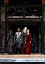Ray Fearon (Macbeth), Tara Fitzgerald (Lady Macbeth) in MACBETH by Shakespeare opening at Shakespeare's Globe, London SE1 on 23/06/2016 ~set & lighting design: Ciaran Bagnall costumes: Joan O'Clery di...