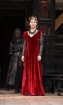 Tara Fitzgerald (Lady Macbeth) in MACBETH by Shakespeare opening at Shakespeare's Globe, London SE1 on 23/06/2016 ~set & lighting design: Ciaran Bagnall costumes: Joan O'Clery director: Iqbal Khan ~(c...