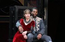 Tara Fitzgerald (Lady Macbeth), Ray Fearon (Macbeth) in MACBETH by Shakespeare opening at Shakespeare's Globe, London SE1 on 23/06/2016 ~set & lighting design: Ciaran Bagnall costumes: Joan O'Clery di...