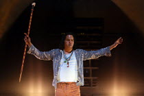 Kamahi Djordon King (The Fool) in THE SHADOW KING based on 'King Lear' by Shakespeare opening at the Barbican Theatre, Barbican Centre, London EC2 on 23/06/2016 ~a Malthouse Theatre, Australia product...