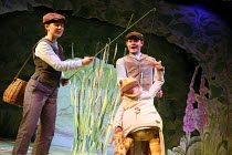 Jeremy Fisher goes fishing: Molly Waters & Steven Hardcastle in WHERE IS PETER RABBIT? opening at the Old Laundry Theatre, Bowness-on Windermere, Cumbria, England on 28/06/2016 music: Steven Edis lyri...