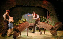 Mr McGregor spots Peter Rabbit - l-r: Molly Waters, Oliver Mawdsley in WHERE IS PETER RABBIT? opening at the Old Laundry Theatre, Bowness-on Windermere, Cumbria, England on 28/06/2016 music: Steven Ed...