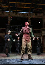 Terence Keeley (Bloody Captain) with with the Wyrd Sisters in MACBETH by Shakespeare opening at Shakespeare's Globe, London SE1 on 23/06/2016 ~set & lighting design: Ciaran Bagnall costumes: Joan O'Cl...