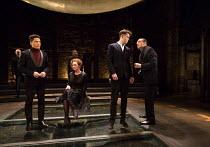 front, l-r: Joshua Riley (Marquess of Dorset), Aislin McGuckin (Queen Elizabeth), Joseph Arkley (Earl Rivers), Ralph Fiennes (Richard, Duke of Gloucester) in RICHARD III by Shakespeare opening at the...