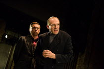l-r: James Garnon (William, Lord Hastings), Ralph Fiennes (Richard, Duke of Gloucester) in RICHARD III by Shakespeare opening at the Almeida Theatre, London N1 on 16/06/2016 set design: Hildegard Bech...