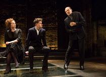 l-r: Aislin McGuckin (Queen Elizabeth), Joseph Arkley (Earl Rivers), Ralph Fiennes (Richard, Duke of Gloucester) in RICHARD III by Shakespeare opening at the Almeida Theatre, London N1 on 16/06/2016 s...