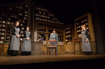 l-r: Naomi Frederick (Maggie Hobson), Gabrielle Dempsey (Vickey Hobson), Martin Shaw (Henry Horatio Hobson), Florence Hall (Alice Hobson) in HOBSON'S CHOICE by Harold Brighouse opening at the Vaudevil...