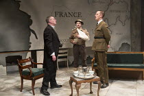l-r: Tom Mannion (Lord Halifax), James Chalmers (Captain de Courcel), Laurence Fox (Charles de Gaulle) in THE PATRIOTIC TRAITOR written & directed by Jonathan Lynn opening at the Park Theatre, Finsbur...