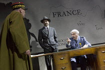 l-r: Tom Mannion (General Weygand), Niall Ashdown (Pierre Laval), Tom Conti (Philippe Petain) in THE PATRIOTIC TRAITOR written & directed by Jonathan Lynn opening at the Park Theatre, Finsbury Park, L...