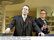 'DEMOCRACY' (Michael Frayn - director: Michael Blakemore   world premiere)~the Chancellor and the Stasi spy - l-r: Roger Allam (Willy Brandt), Conleth Hill (Gnter Guillaume)~Cottesloe Theatre / Nation...