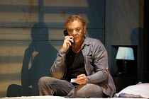 in Juliette Greco's former Paris hotel room: Marc Labreche (Robert) in NEEDLES AND OPIUM written & directed by Robert Lepage opening at the Barbican Theatre, Barbican Centre, London EC2 on 07/07/2016...