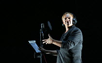 making a recording studio voice over: Marc Labreche (Robert) in NEEDLES AND OPIUM written & directed by Robert Lepage opening at the Barbican Theatre, Barbican Centre, London EC2 on 07/07/2016   an Ex...