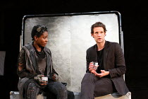 Tamara Lawrance (Natasha), Matt Smith (Maxim) in UNREACHABLE written & directed by Anthony Neilson opening at the Jerwood Theatre Downstairs, Royal Court Theatre, London SW1 on 08/07/2016 set design:...