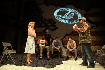 front left: Anne Archer (Jane Fonda) right: Mark Rose (Tommy Lee Cook) in THE TRIAL OF JANE FONDA by Terry Jastrow opening at the Park Theatre, London N4 on 14/07/2016   set design: Sean Cavanagh cost...