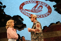 Anne Archer (Jane Fonda), Mark Rose (Tommy Lee Cook) in THE TRIAL OF JANE FONDA by Terry Jastrow opening at the Park Theatre, London N4 on 14/07/2016   set design: Sean Cavanagh costumes: Roberto Sura...