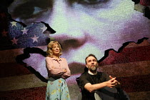 Anne Archer (Jane Fonda), Martin Fisher (Reverend John Clarke) in THE TRIAL OF JANE FONDA by Terry Jastrow opening at the Park Theatre, London N4 on 14/07/2016   set design: Sean Cavanagh costumes: Ro...