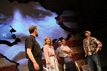 l-r: Martin Fisher (Reverend John Clarke), Anne Archer (Jane Fonda), Paul Herzberg (Joe Celano), Christien Anholt (Buzzy Banks), Mark Rose (Tommy Lee Cook) in THE TRIAL OF JANE FONDA by Terry Jastrow...