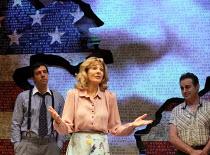 l-r: Alex Gaumond (Larry Bonk), Anne Archer (Jane Fonda), Paul Herzberg (Joe Celano) in THE TRIAL OF JANE FONDA by Terry Jastrow opening at the Park Theatre, London N4 on 14/07/2016   set design: Sean...
