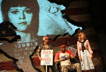 right: Anne Archer (Jane Fonda) in THE TRIAL OF JANE FONDA by Terry Jastrow opening at the Park Theatre, London N4 on 14/07/2016   set design: Sean Cavanagh costumes: Roberto Surace lighting: Tony Sim...