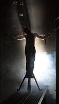Crucifixion: Declan Bennett (Jesus) in JESUS CHRIST SUPERSTAR opening at the Open Air Theatre, Regent's Park, London NW1 on 21/07/2016  music: Andrew Lloyd Webber  lyrics: Tim Rice design: Tom Scutt...