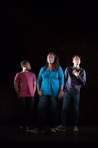 l-r: Fisayo Akinade, Sharon D Clarke, Alex Hassell in PIGS AND DOGS by Caryl Churchill opening at the Jerwood Theatre Downstairs, Royal Court Theatre, London SW1 on 22/07/2016 lighting: Jack Williams...