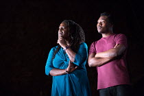 Sharon D Clarke, Fisayo Akinade in PIGS AND DOGS by Caryl Churchill opening at the Jerwood Theatre Downstairs, Royal Court Theatre, London SW1 on 22/07/2016 lighting: Jack Williams director: Dominic C...