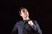Alex Hassell in PIGS AND DOGS by Caryl Churchill opening at the Jerwood Theatre Downstairs, Royal Court Theatre, London SW1 on 22/07/2016 lighting: Jack Williams director: Dominic Cooke  Donald Cooper...