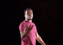 Fisayo Akinade in PIGS AND DOGS by Caryl Churchill opening at the Jerwood Theatre Downstairs, Royal Court Theatre, London SW1 on 22/07/2016 lighting: Jack Williams director: Dominic Cooke  Donald Coop...