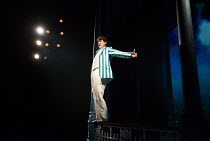 'If The Rain's Got To Fall': Charlie Stemp (Arthur Kipps) in HALF A SIXPENCE opening at the Chichester Festival Theatre, West Sussex, England on 26/07/2016 based on the H.G.Wells novel 'Kipps: The Sto...