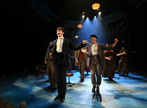 'Money To Burn' - front left: Charlie Stemp (Arthur Kipps) in HALF A SIXPENCE opening at the Chichester Festival Theatre, West Sussex, England on 26/07/2016 based on the H.G.Wells novel Kipps: The Sto...