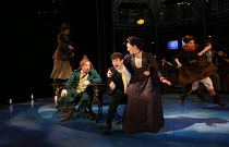 'Money To Burn' - front left:  Ian Bartholomew (Chitterlow) centre: Charlie Stemp (Arthur Kipps), Jennifer Louise Jones in HALF A SIXPENCE opening at the Chichester Festival Theatre, West Sussex, Engl...