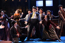 'Money To Burn' - centre: Charlie Stemp (Arthur Kipps) in HALF A SIXPENCE opening at the Chichester Festival Theatre, West Sussex, England on 26/07/2016 based on the H.G.Wells novel 'Kipps: The Story...