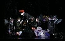 front, l-r: Benjamin Hulett (Lysander), David Evans (Puck), Elizabeth DeShong (Hermia) with fairies in A MIDSUMMER NIGHT'S DREAM music: Benjamin Britten after Shakespeare opening at Glyndebourne Festi...