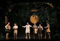 the Mechanicals, l-r: Matthew Rose (Bottom), Anthony Gregory (Flute), Sion Goronwy (Snug), William Dazeley (Starveling), Colin Judson (Snout), David Soar (Quince) in A MIDSUMMER NIGHT'S DREAM music: B...