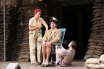 l-r: Kyla Goodey (Lily's Mum), Ewan Wardrop (Mrs Ivy Turner), Katy Owen (Lily) in 946: THE AMAZING STORY OF ADOLPHUS TIPS opening at Shakespeare's Globe (SG), London SE1 on 17/08/2016 adapted by Micha...