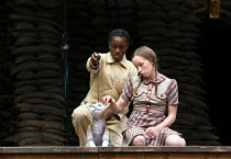 l-r: Nandi Bhebhe (Tips the Cat), Katy Owen (Lily) in 946: THE AMAZING STORY OF ADOLPHUS TIPS opening at Shakespeare's Globe (SG), London SE1 on 17/08/2016 adapted by Michael Morpurgo from his novel w...