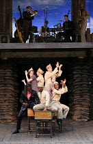 the company and band in 946: THE AMAZING STORY OF ADOLPHUS TIPS opening at Shakespeare's Globe (SG), London SE1 on 17/08/2016  adapted by Michael Morpurgo from his novel with Emma Rice design: Lez Bro...