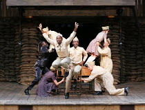 front, leaping: Nandi Bhebhe (Harry) with company in 946: THE AMAZING STORY OF ADOLPHUS TIPS opening at Shakespeare's Globe (SG), London SE1 on 17/08/2016  adapted by Michael Morpurgo from his novel w...