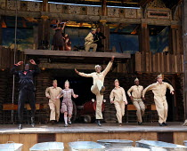 centre: Nandi Bhebhe (Harry) with company in 946: THE AMAZING STORY OF ADOLPHUS TIPS opening at Shakespeare's Globe (SG), London SE1 on 17/08/2016  adapted by Michael Morpurgo from his novel with Emma...