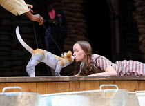 Tips the Cat and Katy Owen (Lily) in 946: THE AMAZING STORY OF ADOLPHUS TIPS opening at Shakespeare's Globe (SG), London SE1 on 17/08/2016  adapted by Michael Morpurgo from his novel with Emma Rice de...