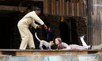 l-r: Nandi Bhebhe (Tips the Cat), Katy Owen (Lily) in 946: THE AMAZING STORY OF ADOLPHUS TIPS opening at Shakespeare's Globe (SG), London SE1 on 17/08/2016  adapted by Michael Morpurgo from his novel...
