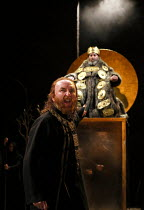 Act 1, scene 1: Antony Byrne (Kent), Antony Sher (King Lear) in KING LEAR by Shakespeare opening at the Royal Shakespeare Theatre, Stratford-upon-Avon, England on 01/09/2016 ~a Royal Shakespeare Compa...