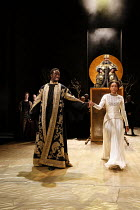 Act 1, scene 1: Theo Ogundipe (Burgundy), Natalie Simpson (Cordelia) with (rear) Antony Sher (King Lear) in KING LEAR by Shakespeare opening at the Royal Shakespeare Theatre, Stratford-upon-Avon, Engl...