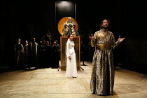 Act 1, scene 1 - centre, l-r: Natalie Simpson (Cordelia), Antony Sher (King Lear) right: Marcus Griffiths (France) in KING LEAR by Shakespeare opening at the Royal Shakespeare Theatre, Stratford-upon-...