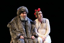 Act 1, scene 5: Antony Sher (King Lear), Graham Turner (Fool) in KING LEAR by Shakespeare opening at the Royal Shakespeare Theatre, Stratford-upon-Avon, England on 01/09/2016 a Royal Shakespeare Compa...